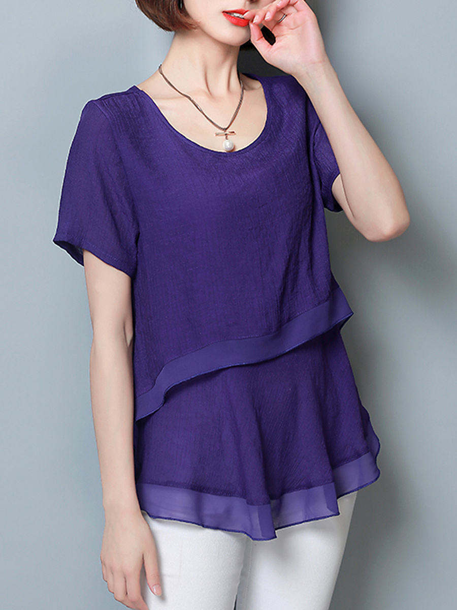 Round Neck Plain Chiffon Short Sleeve T-Shirt