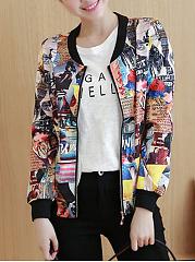 Band-Collar-Pocket-Printed-Bomber-Jacket