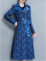 Lapel  Single Breasted  Belt  Printed  Long Sleeve Trench Coats