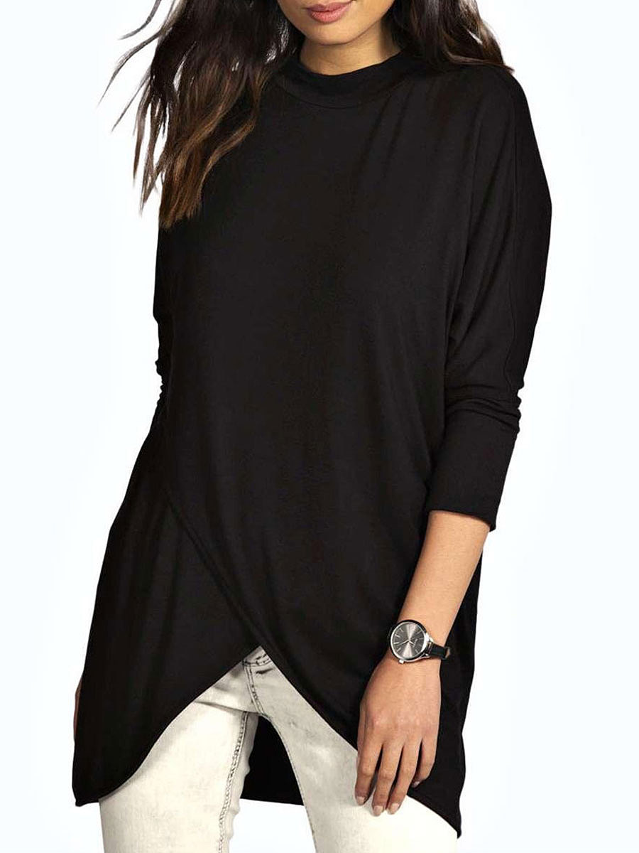 Autumn Spring  Cotton  Women  High Neck  Asymmetric Hem  Plain Long Sleeve T-Shirts