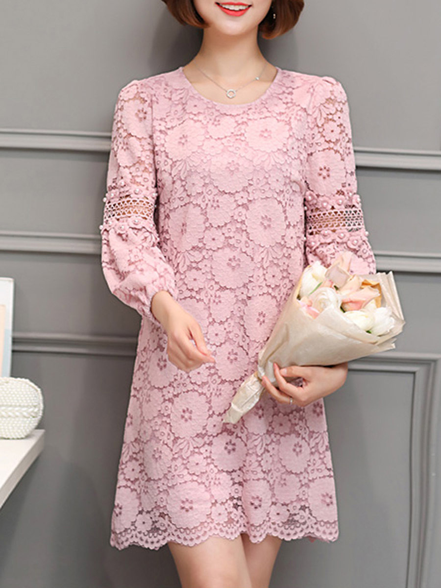Round Neck  Plain  Lace Shift Dress