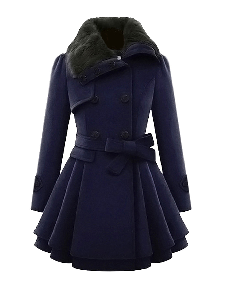 Fold-Over Collar Double Breasted Swing Woolen Coats