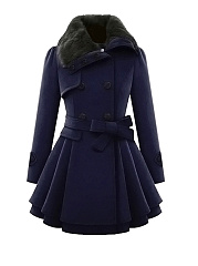 Fold-Over-Collar-Double-Breasted-Swing-Woolen-Coats