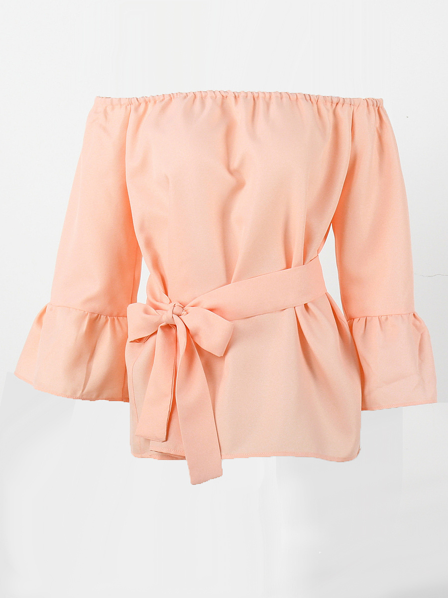Off Shoulder  Bowknot  Plain  Bell Sleeve Blouse