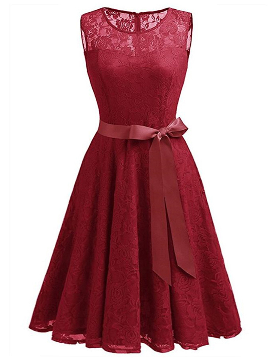 Round Neck Bowknot Hollow Out Plain Lace Skater Dress
