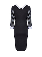 V Neck Striped Patchwork Zip Bodycon Dress