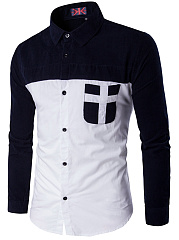 Turn-Down-Collar-Color-Block-Patch-Pocket-Men-Shirts