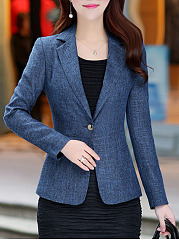 Solid Long Sleeve Notch Lapel  Single Button Blazer
