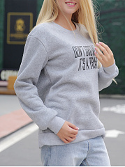 Autumn Spring  Polyester  Round Neck  Letters Plain  Long Sleeve Sweatshirts