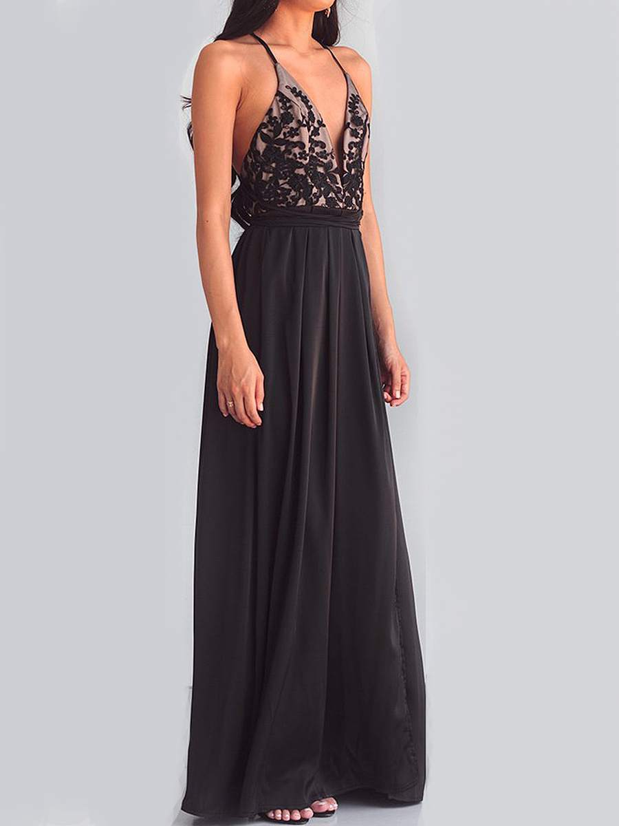 Spaghetti Strap High Slit Patchwork Evening Dress