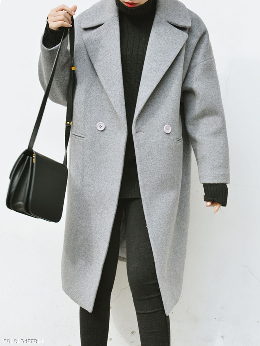Notch Lapel  Slit Pocket  Plain  Long Sleeve Coats