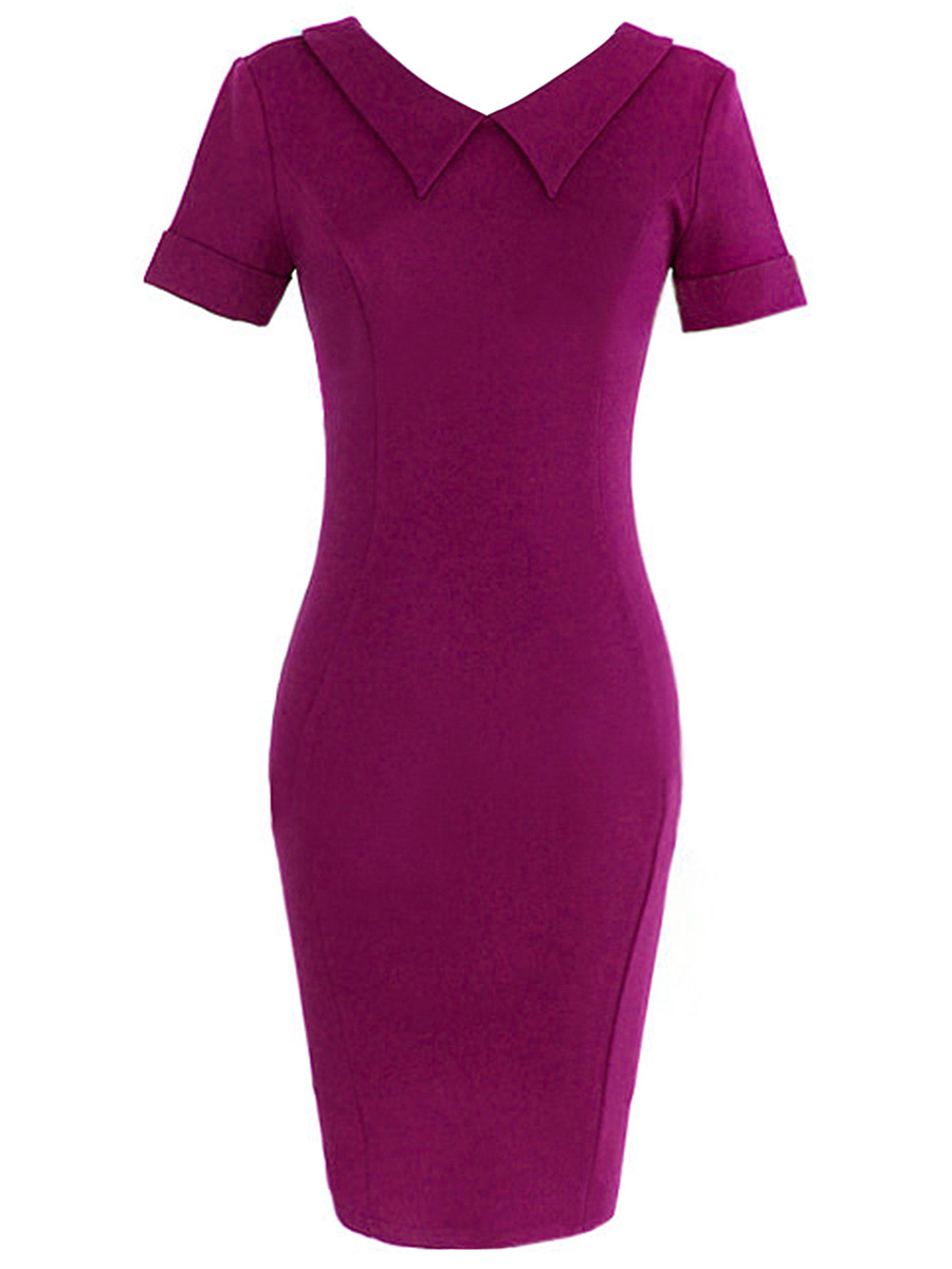 Doll Collar Plain Slit Bodycon Dress
