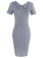 ... Doll Collar Plain Slit Bodycon Dress ...