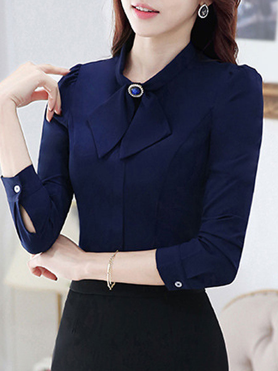 Bowknot  Plain  Long Sleeve Blouses