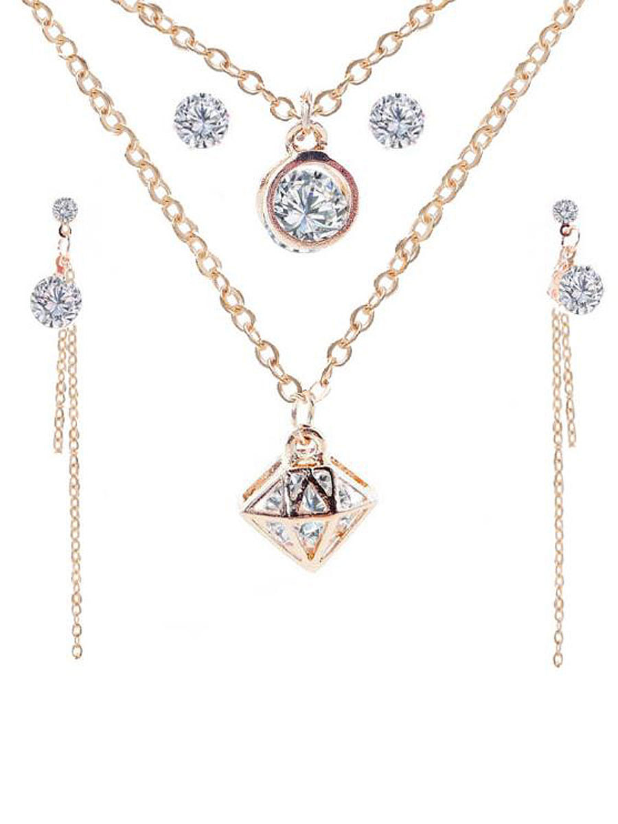 Elegant Faux Crystal Jewelry Sets For Women