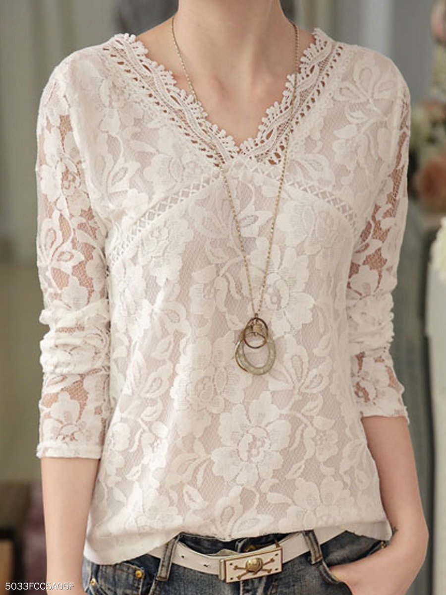 Autumn Spring  Polyester  Women  V-Neck  See-Through  Lace  Long Sleeve Blouses