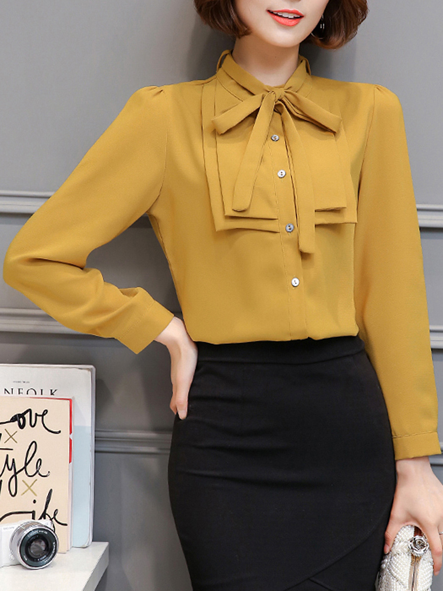 Band Collar  Bowknot  Plain Blouse