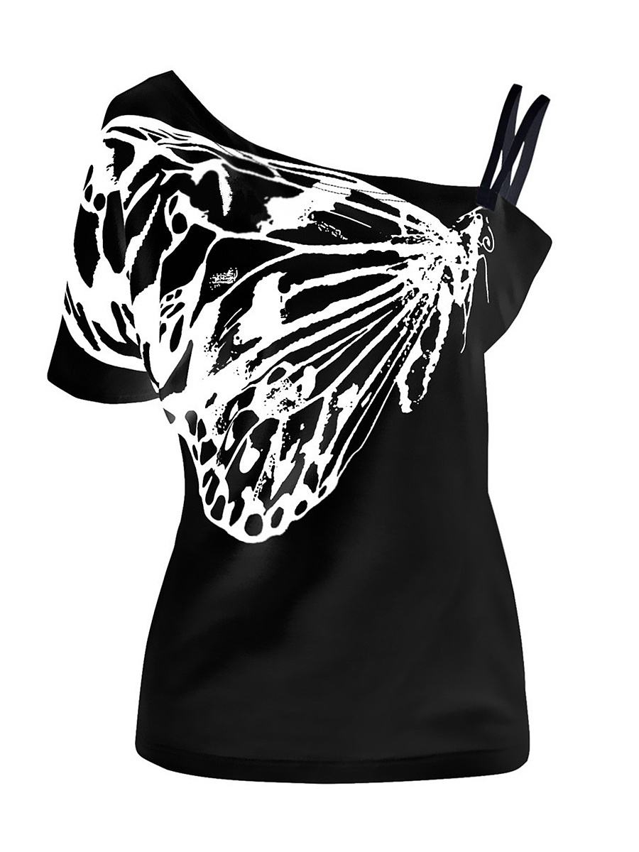 Open Shoulder  Printed  Short Sleeve Plus Size T-Shirts