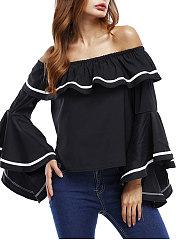 Boat-Neck-Patchwork-Plain-Bell-Sleeve-Long-Sleeve-T-Shirts