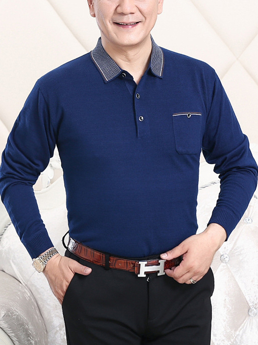 Men Plaid Polo Collar Patch Pocket Sweater