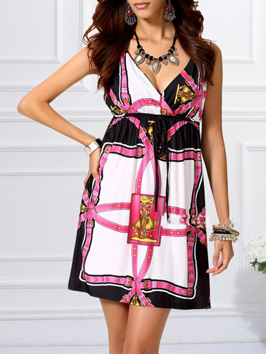 Deep V-Neck  Printed Empire Skater Dress