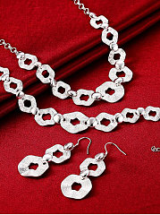 Sliver Geotric Jewelry Set