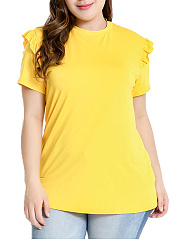 Round Neck  Flounce  Plain  Short Sleeve Plus Size Blouse