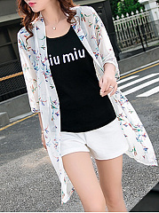 Collarless  Floral Printed  Long Sleeve Cardigans