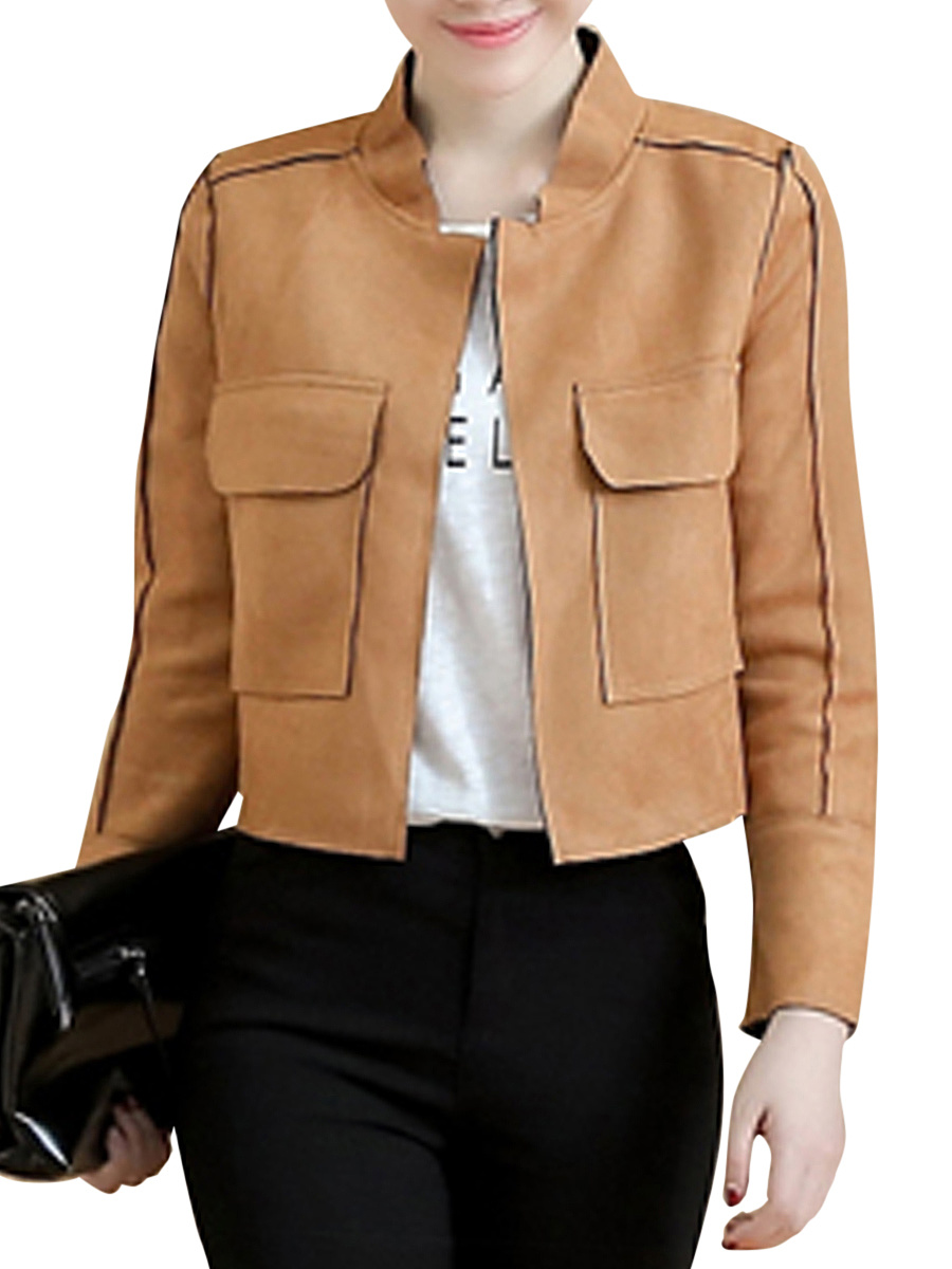 Veste Faux Suede Flap Pocket Plain