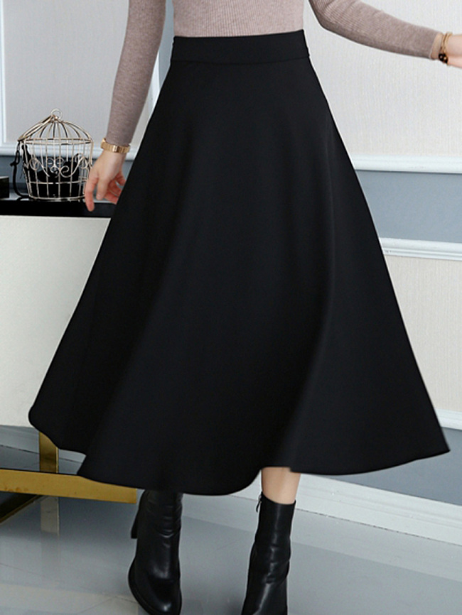 Image of Fashionmia Basic Plain Flared Maxi Skirt