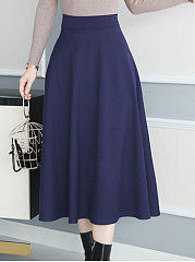 Basic Plain Flared Maxi Skirt
