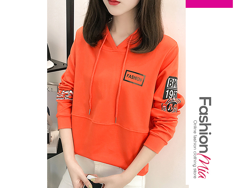 Casual Letters Printed Hoodie FASHIONMIA