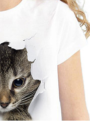 Summer  Polyester  Women  Round Neck  Animal Printed Short Sleeve T-Shirts