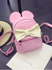 Korea New Cute Color Block Bowknot Drawstring Backpack