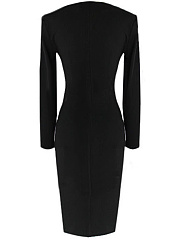 Cowl Neck Zips Slit Bodycon Dress