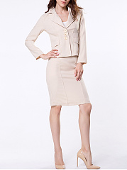 Notch-Lapel-Plain-Single-Breasted-Blazer-And-Split-Straight-Skirt