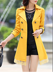 Bowknot Double Breasted  Belt Belt Loops  Plain  Long Sleeve Trench Coats