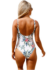 Floral Hollow Out Printed One Piece Swimwear