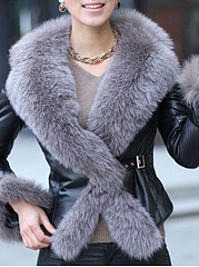 Faux Fur Collar  Decorative Hardware  Plain  Long Sleeve Coats