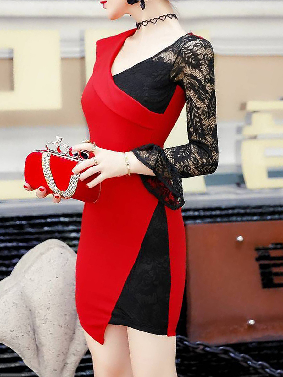 V-Neck  Color Block  Blend Bodycon Dress