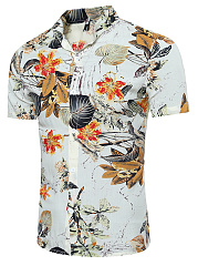 Tropical-Floral-Printed-Men-Short-Sleeve-Shirts