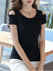Three Colors Off Shoulder T-Shirt