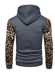 Leopard Color Block Kangaroo Pocket Men Hoodie