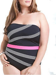 Off Shoulder  Contrast Stitching  Plain Plus Size One Piece