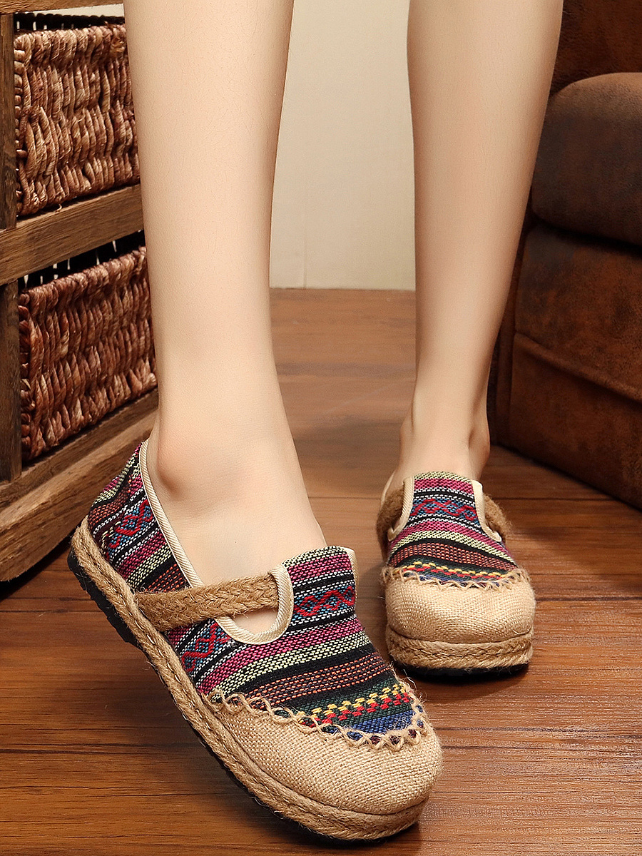 Lovely Colorful Striped Braided Round-Toe Flats