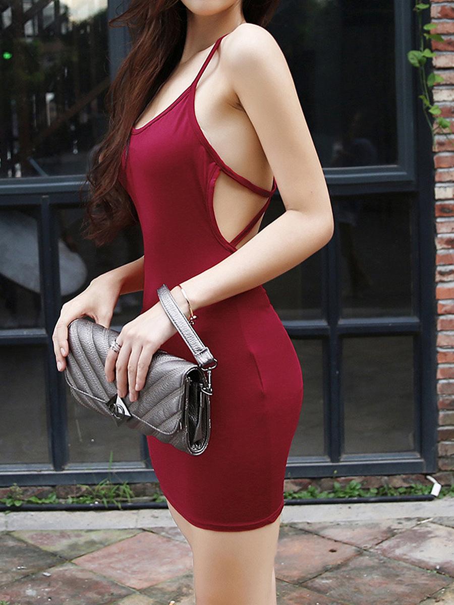 Spaghetti Strap  Plain Bodycon Dress