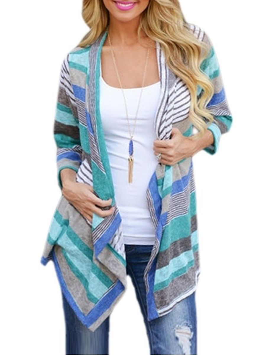 Charming Assorted Colors Striped Cardigan