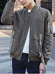 Men-Band-Collar-Flap-Pocket-Plain-Bomber-Jacket