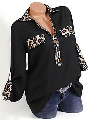 Polyester  Turn Down Collar  Leopard Blouse