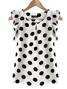 Summer  Polyester  Women  Round Neck  Polka Dot  Extra Short Sleeve Blouses